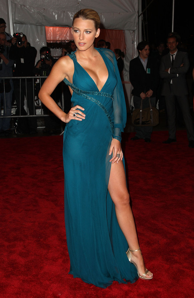 Blake Lively showed lots of skin at the 2009 Met Gala in NYC.