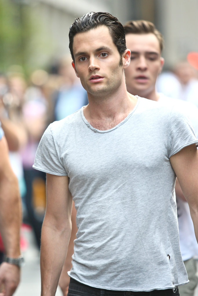 Penn Badgley's hair was slicked back on the Gossip Girl set in NYC.