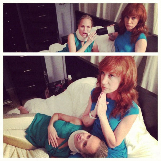 Kathy Griffin visited with her injured pal Kristin Chenoweth. Source: Instagram user kathygriffin