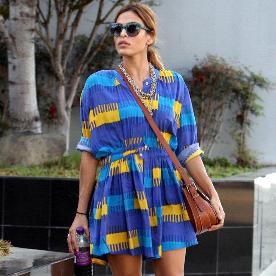 Eva Mendes Wearing Printed Dress