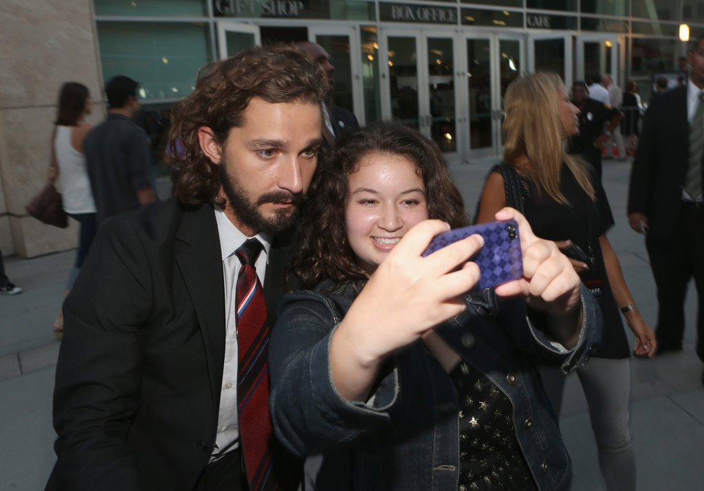 Shia LaBeouf took a photo with a fan.