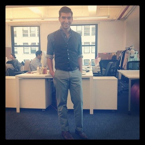 Editorial Assistant Robert Khederian (who was our intern at the time!) worked his trademark dapper style.