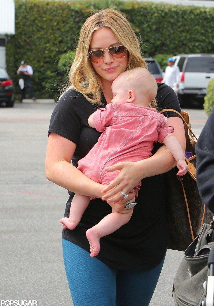 Hilary Duff carried Luca Comrie through a Santa Monica parking lot.