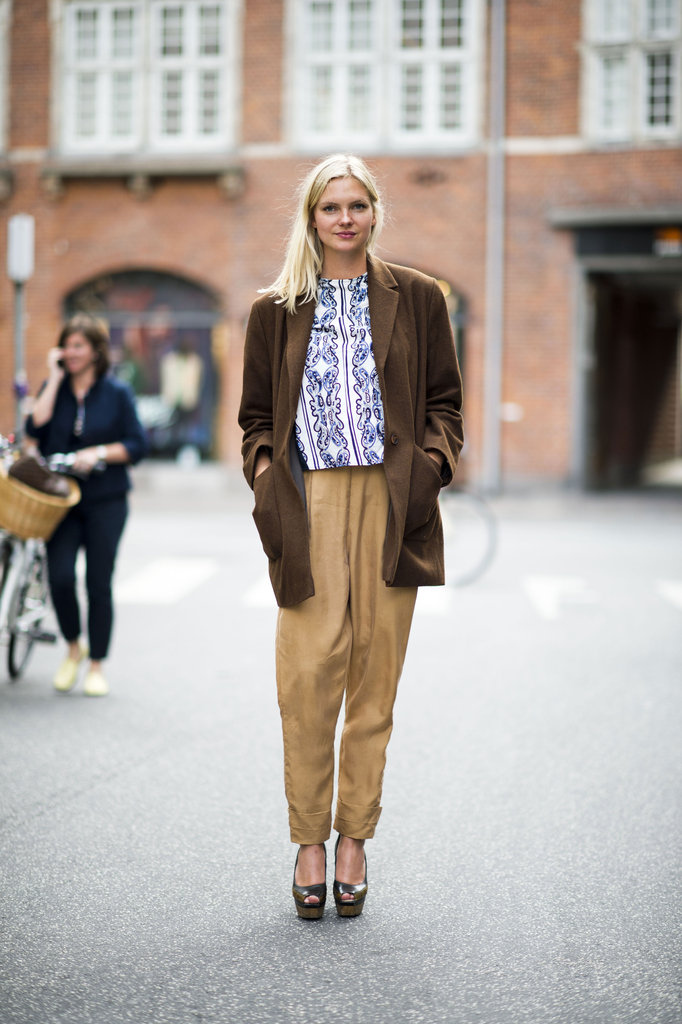 Chic suiting paired with a printed blouse is even chicer. Source: Adam Katz Sinding