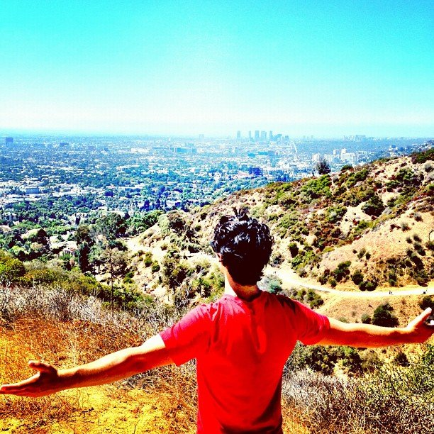 Joe Jonas enjoyed the fresh air in Runyon Canyon, California. Source: Instagram user adamjosephj