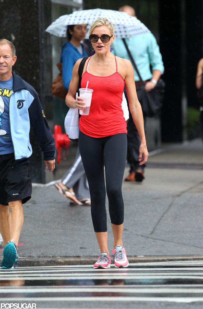 Cameron Diaz walked through NYC, ready to work out.