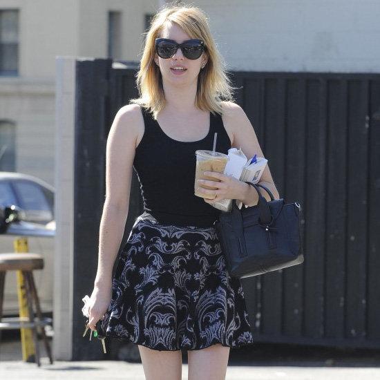Emma Roberts Wearing Printed Skirt