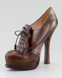 Prada Spazzolato Lace-Up Pump