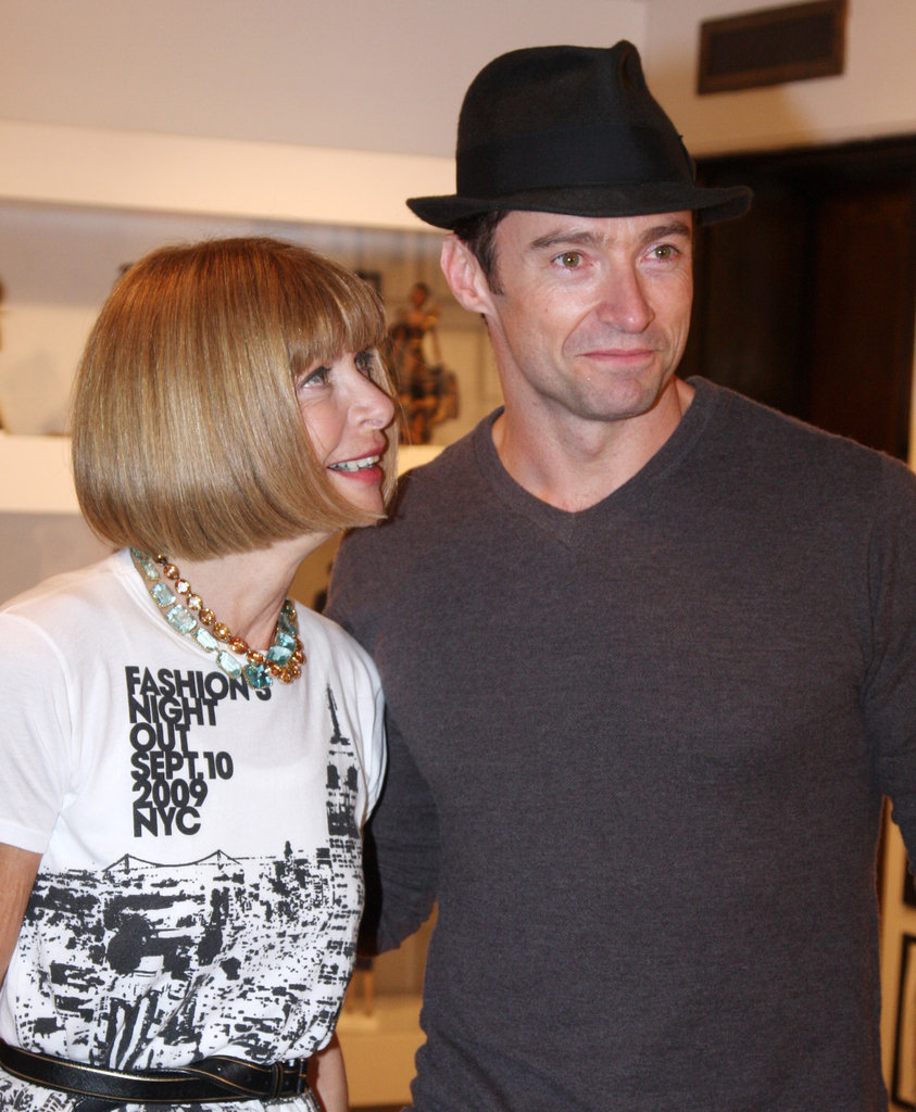 Anna Wintour smiled adoringly at Hugh Jackman during Fashion's Night Out in 2009.