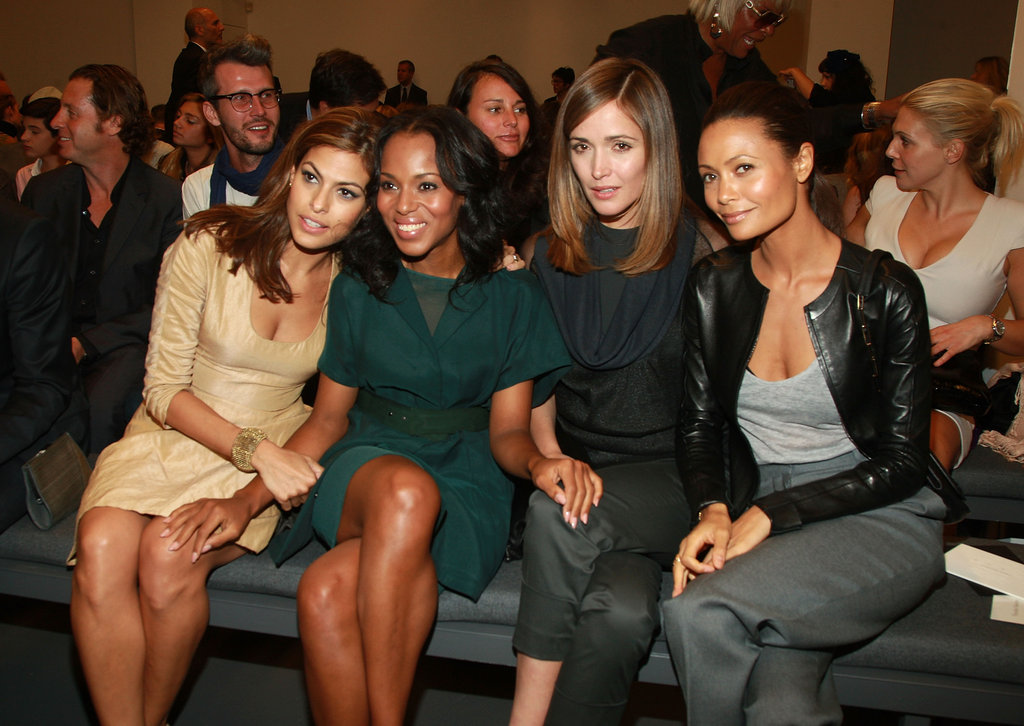 Eva Mendes, Kerry Washington, Rose Byrne and Thandie Newton cosied up in September 2009 to see Calvin Klein's NYC show.