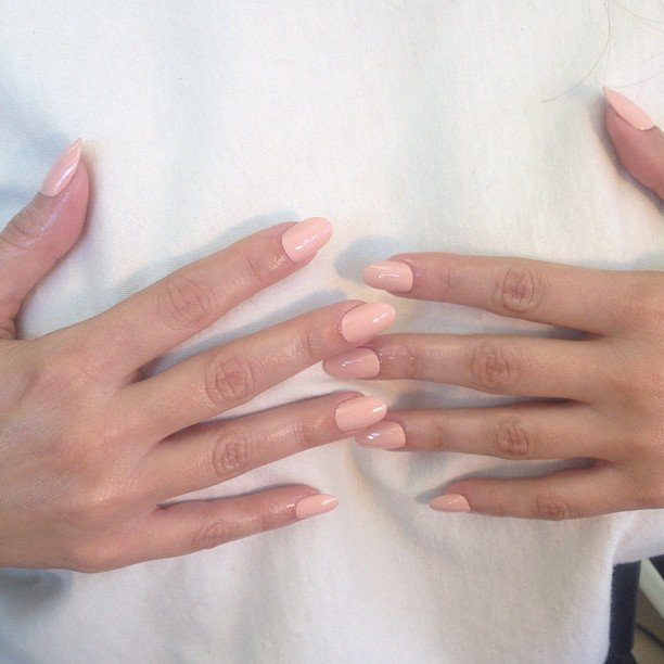 Kim Kardashian was keen to showcase her new nude nails. We love that colour — perfect pinky-nude, no? Source: Instagram user Kimkardashian