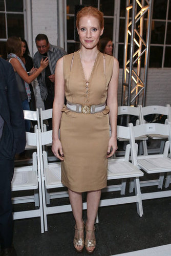 Jessica Chastain followed Kate's lead on the ruffled front and also donned a nude, frill-infused number at Altuzarra.