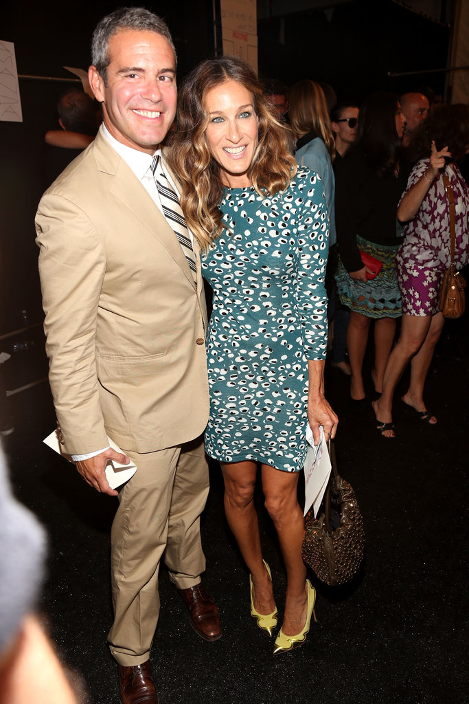 Sarah Jessica Parker looked perfect in a green printed minidress and yellow pumps backstage at Diane von Furstenberg.