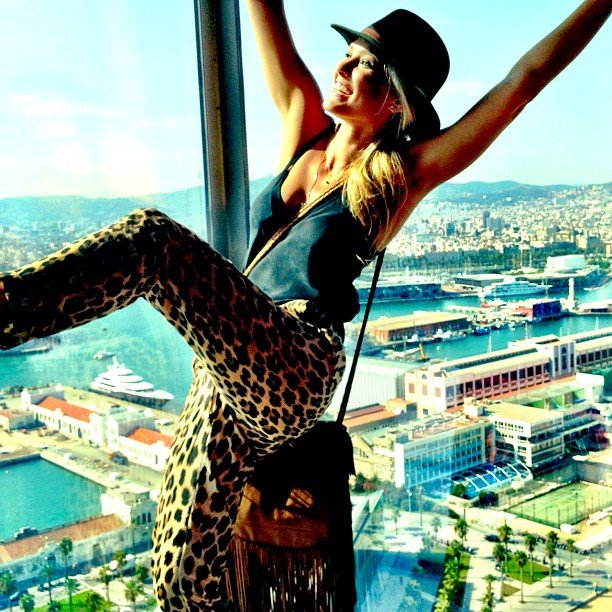 Bar Refaeli got a leg up in Barcelona. Source: Instagram user barrefaeli