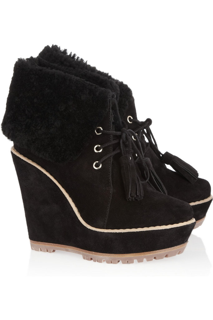 These Mulberry Suede Wedge Ankle Boots ($1,100) are the epitome of Fall. Comfy wedge + cozy shearling + fun tassels = need now. — Chi Diem Chau, associate editor