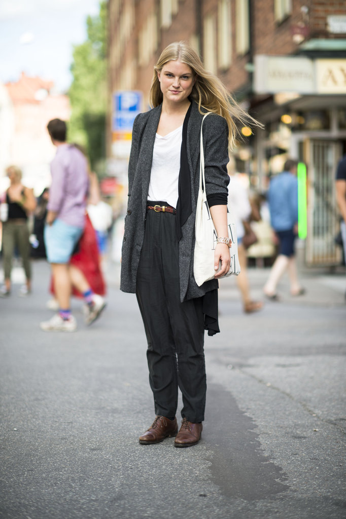 We love the relaxed menswear vibe — all you need to do to re-create the same nonchalant, borrowed-from-the-boys feel are a slouchy pair of trousers and oxfords to mix and match with basic tees and knits. Source: Adam Katz Sinding