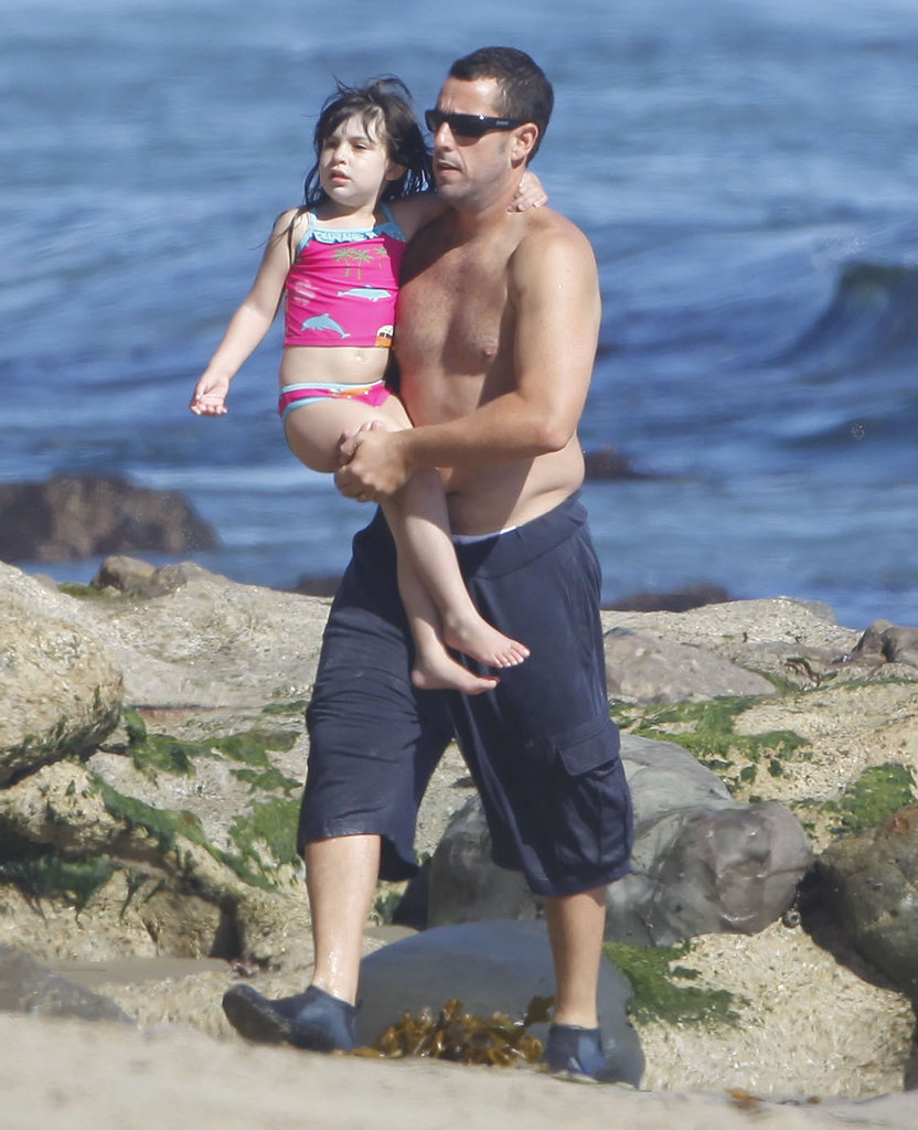 Adam Sandler enjoyed a day at the beach with daughter Sadie on Sunday in Malibu.