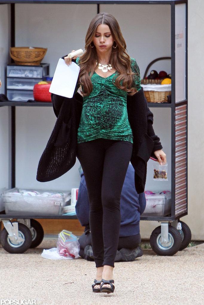 Sofia Vergara snacked on a banana while filming Modern Family.