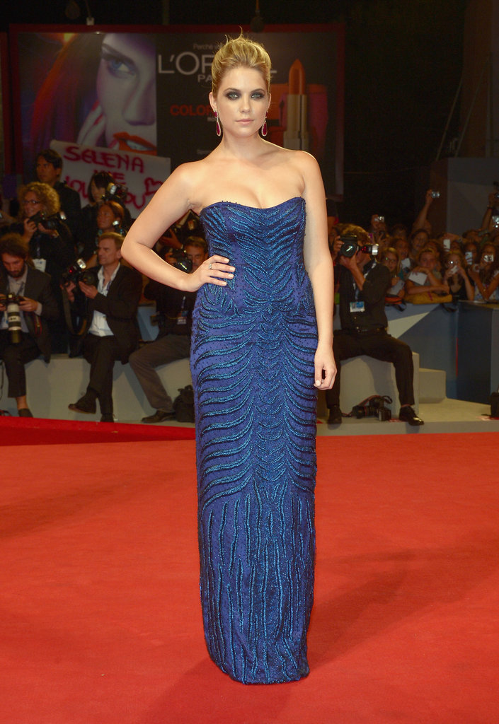 Ashely Benson wore a blue Alberta Ferretti gown to the premiere.