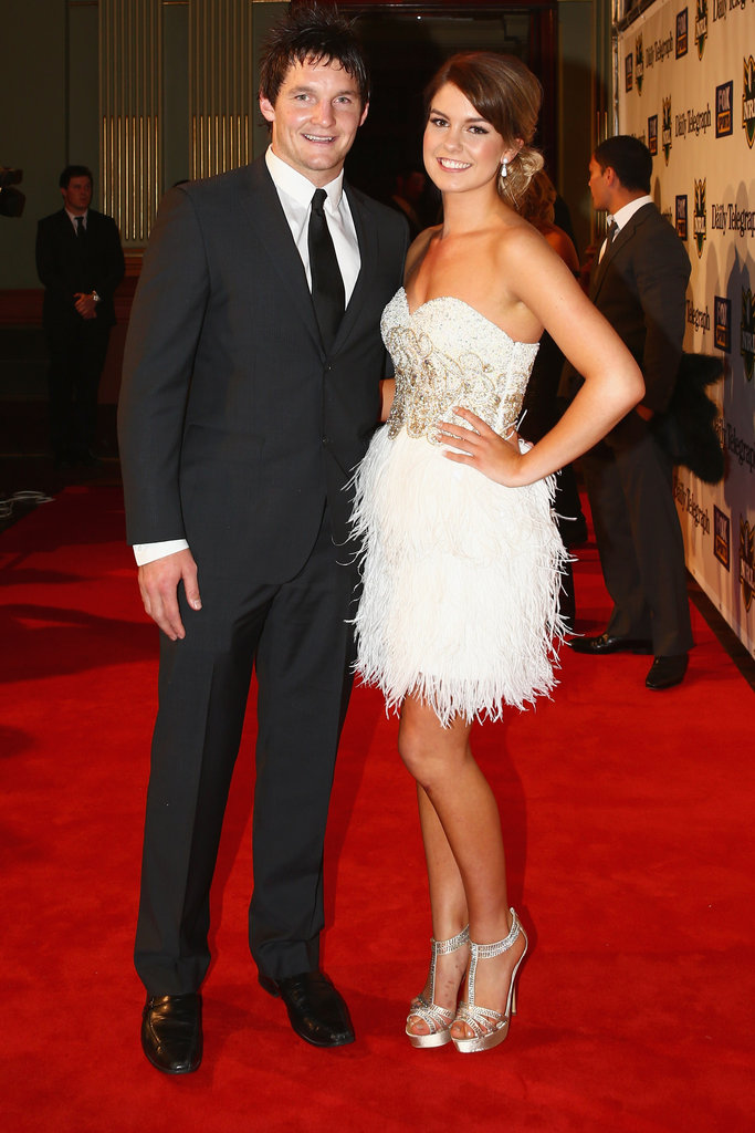 Jarrod Crocker and his partner posed on the red carpet at the 2012 Dally M Awards in Sydney.