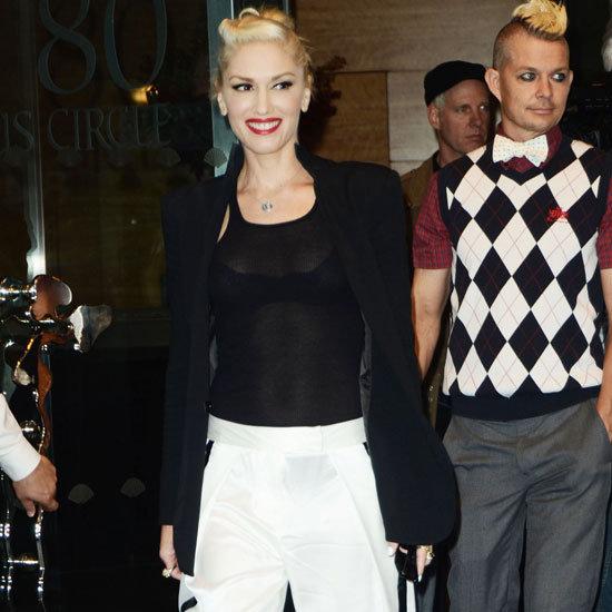 Gwen Stefani Wearing White Tuxedo Pants