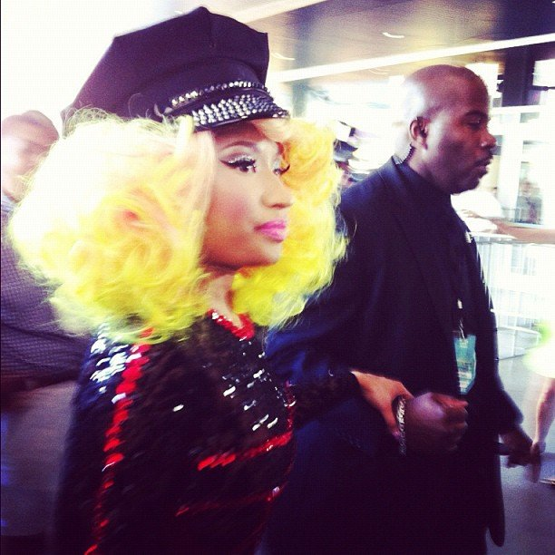 Nicki Minaj stepped out with bright blond locks for the special night.  Source: Instagram user billboard