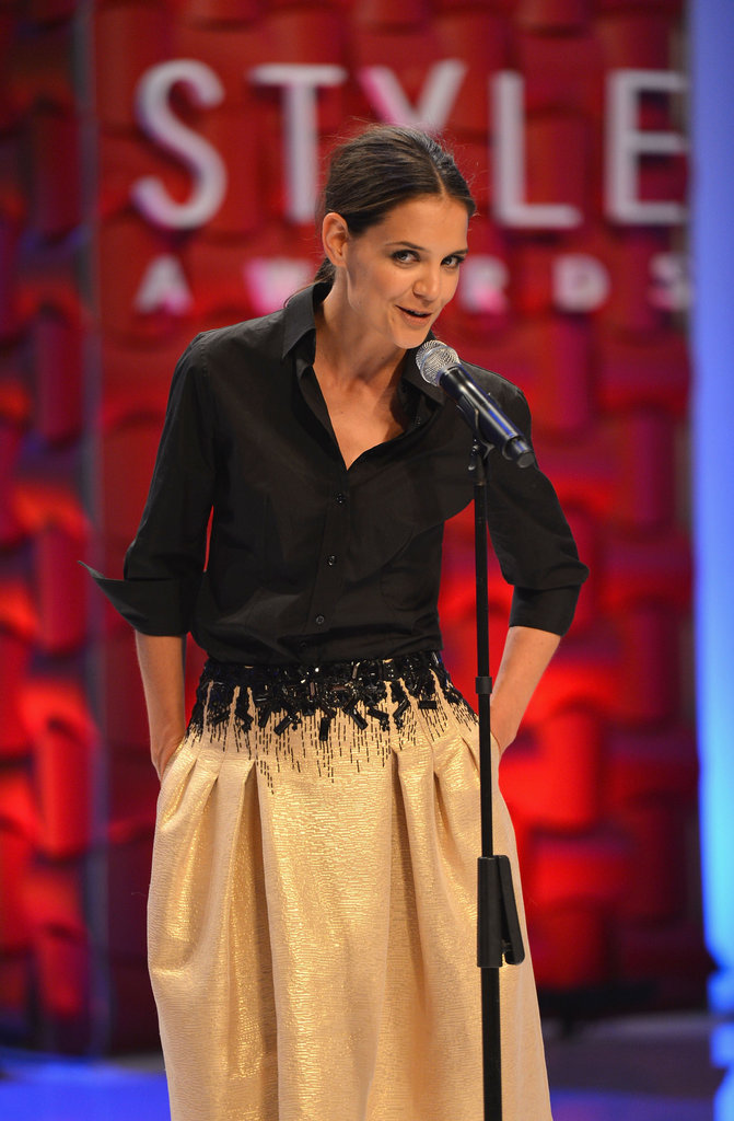 Katie Holmes took the stage to honour Carolina Herrera at the Style Awards.