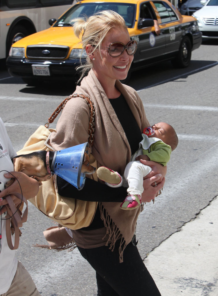 Katherine Heigl arrived at LAX carrying baby Adalaide.