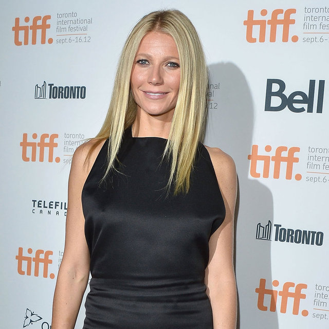 Gwyneth Paltrow In Black Dress And Red Animal Print Shoes At Toronto