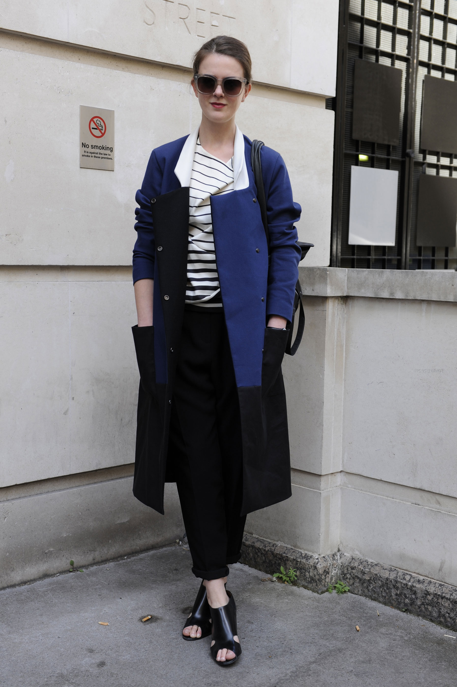 A statement coat gave this classic nautical striped tee new life.