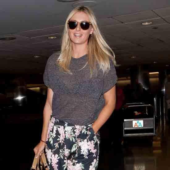 Maria Sharapova Wearing Floral Pants