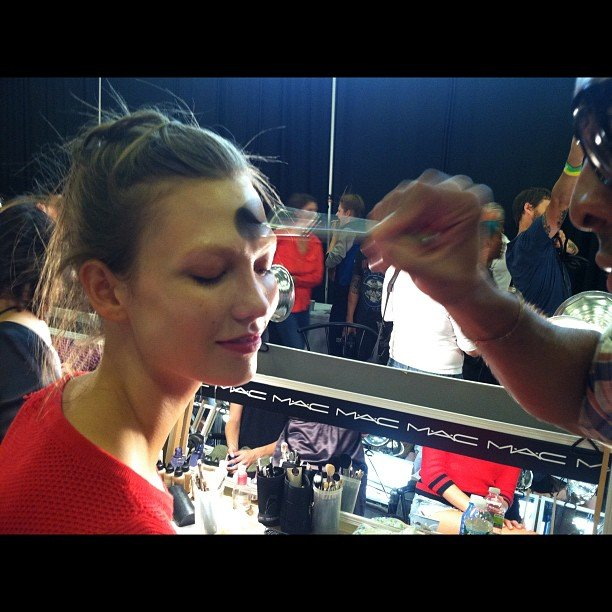 Lucky Magazine caught model Karlie Kloss mid makeup application. Source: Instagram user luckymagazine