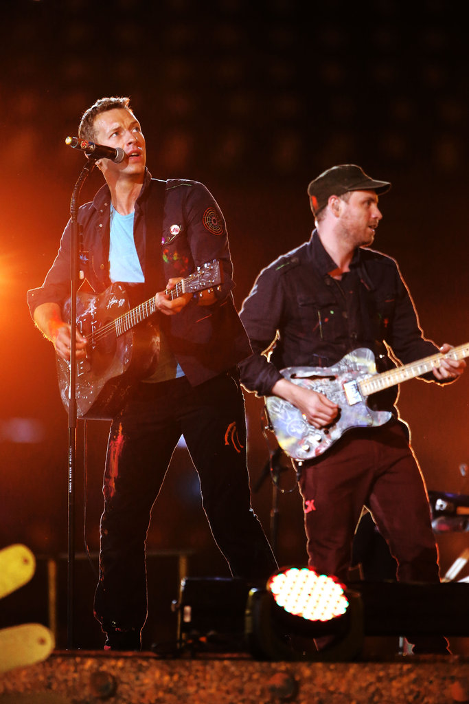 Chris Martin played guitar on stage at the London Paralympics closing ceremony.
