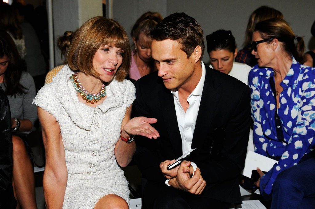 Anna Wintour chatted with a friend in the front row.