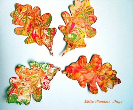 Shaving Cream Painted Leaves