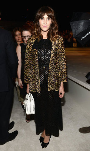 Alexa Chung made an entrance at Marc Jacobs in a leopard-print coat.