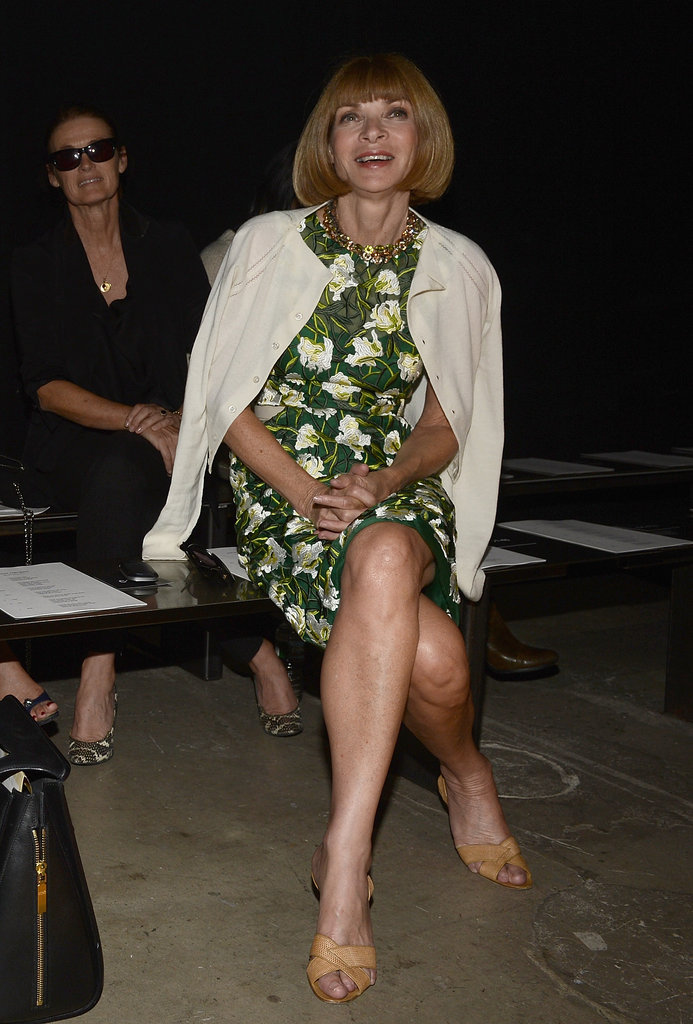 Anna Wintour chose a colorful print for the front row at Narciso.