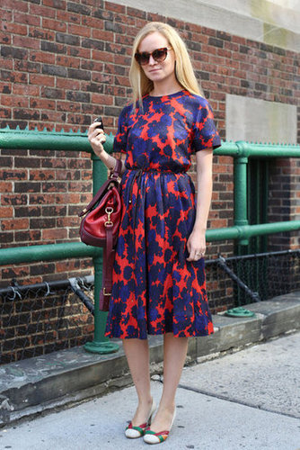 Ladylike print, bag, and sunglasses — she nailed the ladies-who-lunch vibe with a youthful twist.