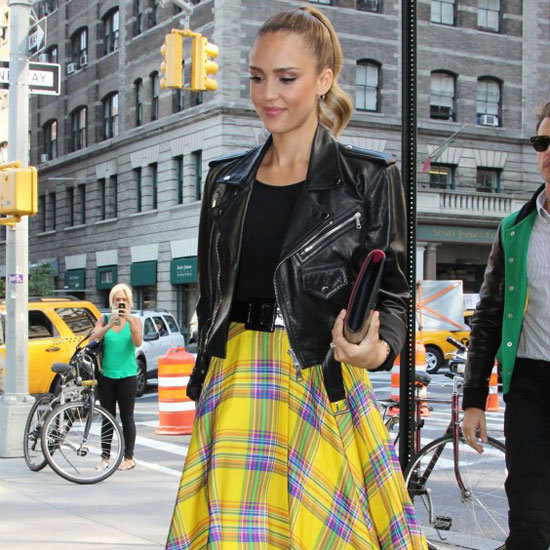 Jessica Alba Wearing Yellow Plaid Skirt