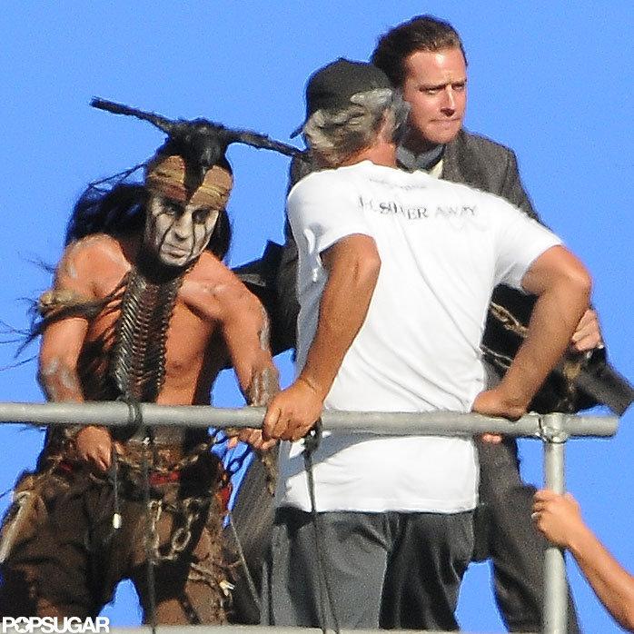 Shirtless Johnny Depp filmed Lone Ranger with Armie Hammer.