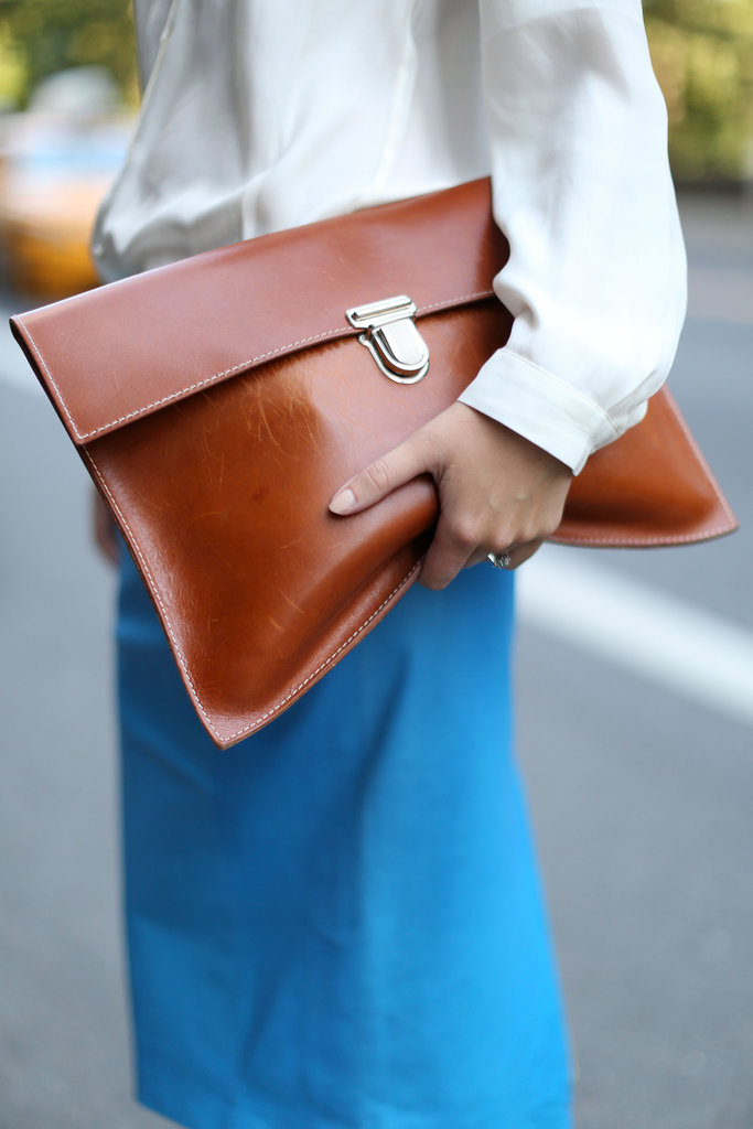 An oversize leather clutch that we'd take to the office — or out to dinner.