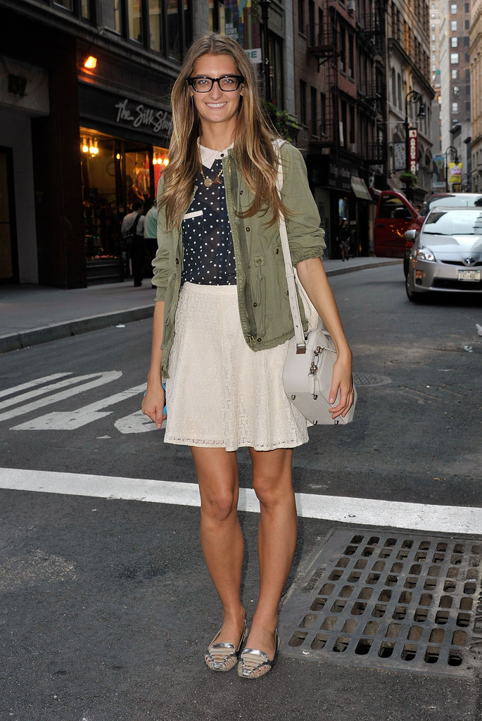 We're loving this sweet look, and the cool counter with an army-green anorak.