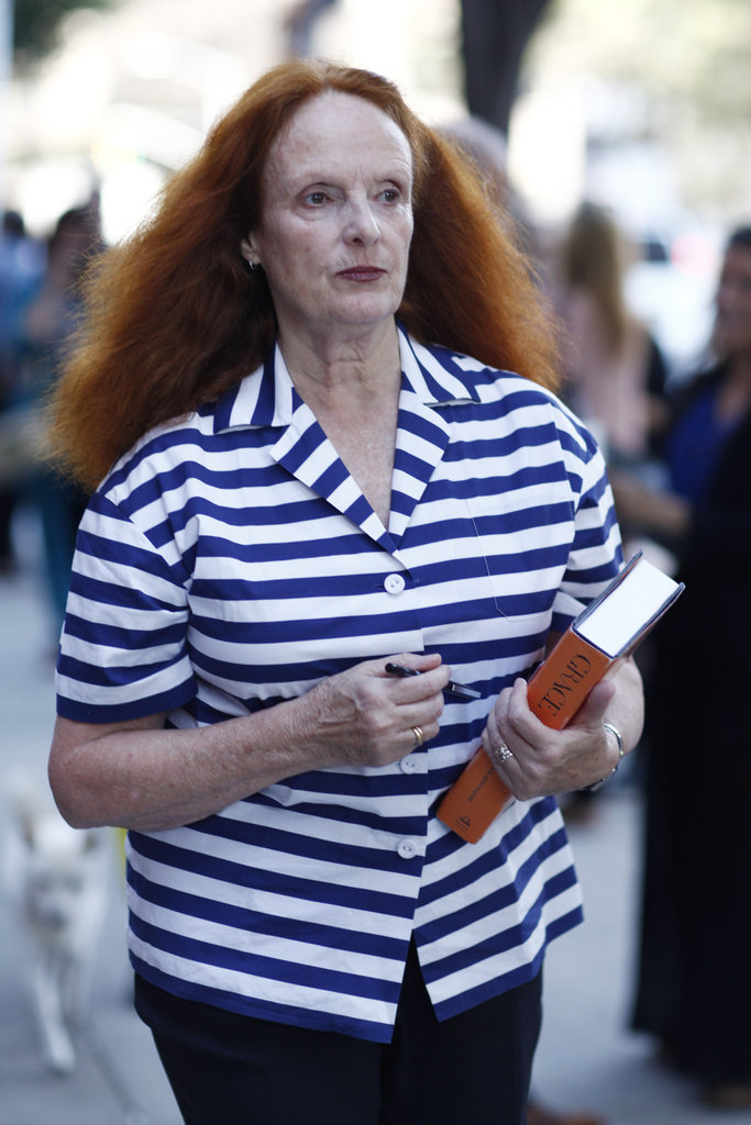 Grace Coddington made her way around the tents in a striped button-down.  Source: Greg Kessler