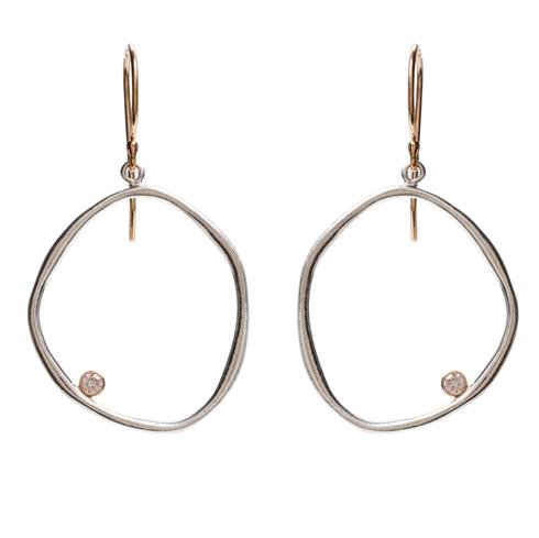 Jamie Joseph Organically Crafted Circle Earrings with Diamond