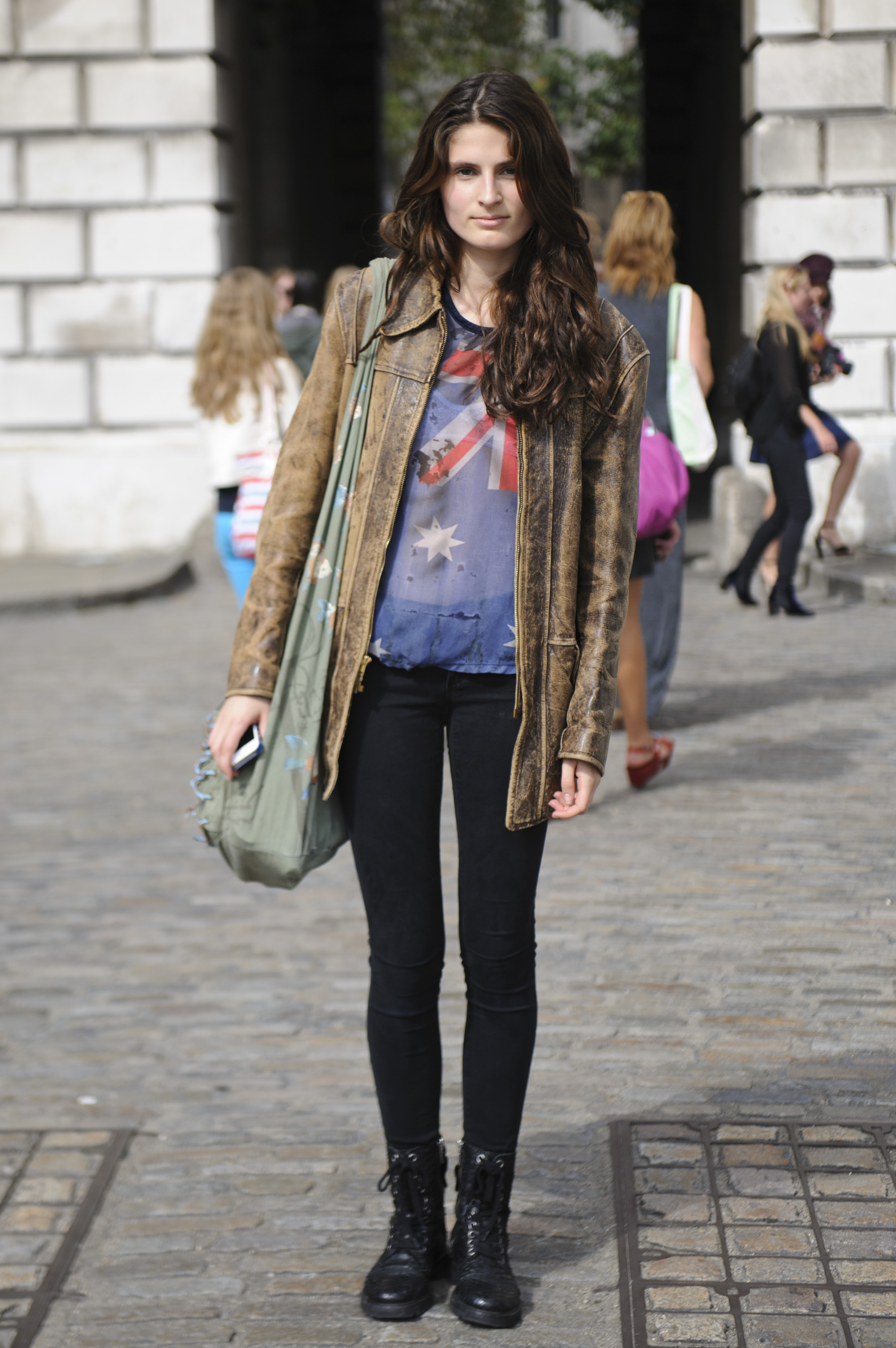 This outfit got the cool-girl treatment courtesy of her Rag & Bone trousers and Zadig & Voltaire lace-up boots.