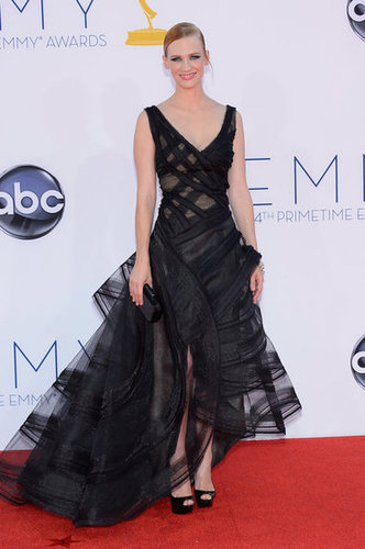 January Jones wore a black Zac Posed gown to hit the red carpet at the Emmy Awards.