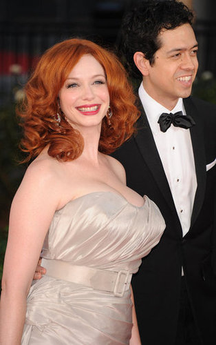 Christina Hendricks wore a belted dress.