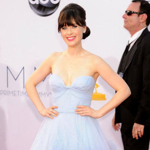 Zooey Deschanel Pictures at 2012 Emmys in Custom Reem Acra Gown
