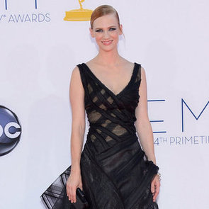 January Jones Pictures at 2012 Emmys in Black Dramatic Zac Posen