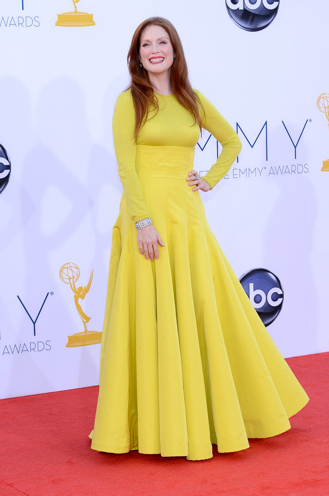 Julianne Moore stepped out in yellow Dior for the Emmy Awards.